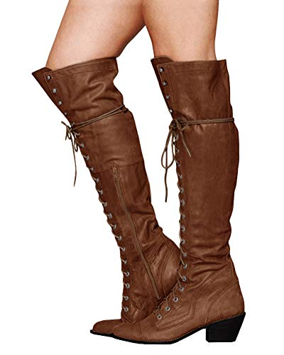 Minetom Damen Winterstiefel Overknees Stiefel Blockabsatz Stiefeletten Langschaft Mode PU Leder Schuhe Retro Niet Seitenreißverschluss Schnüren Boots Khaki 42 EU