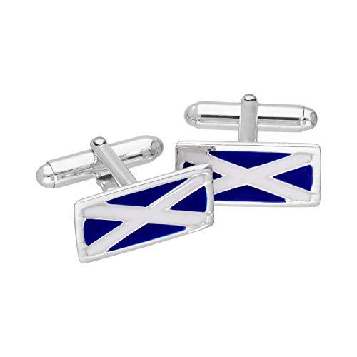 Sterlingsilber & Emaille Flagge Schottland Rückschwenk Manschettenknöpfe