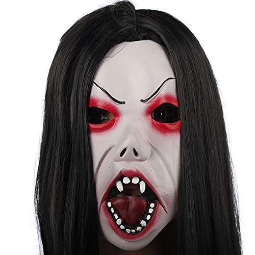 Simulation Horror Maske Halloween Aprilscherz Party Party Funny Items Variety Weißes Haar Hexe Maske Live Shooting Horror Kopfbedeckung (Color : A)