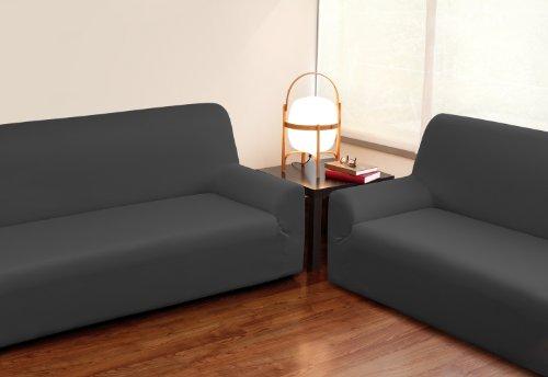 VELFONT – Bielastischer Sofabezug Roma - 3-Sitzer -Grau - verfügbar in verschiedenen Größen und Farben