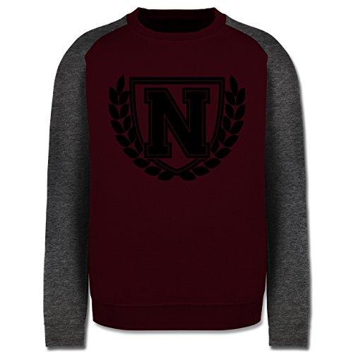Anfangsbuchstaben - N Collegestyle - Herren Baseball Pullover Burgundrot/Dunkelgrau meliert