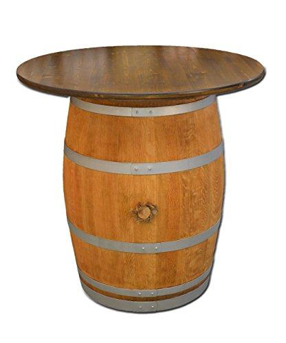 Temesso Dekofass, Stehtisch aus echtem Weinfass, Gartentisch mit großer Tischplatte nussbaumfarben lasiert D100 cm - Fass geschliffen und geölt mit silbernen Ringen