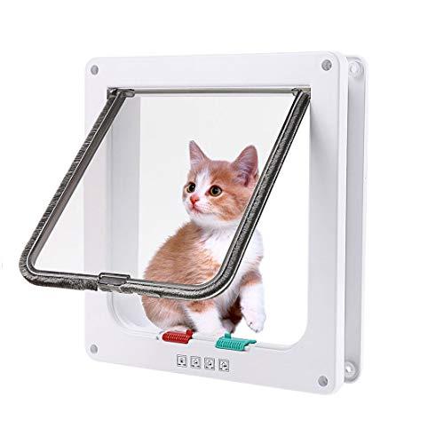 Haustier Mate Cat Mate Katze /Katzenklappe chips Hundeklappe mit Tunnel Cat / Dog Inkubator mit 4-Wege-Verriegelung, stabil,katzenklappe chiperkennung geeignet für kleine und mittlere Katzen und Hunde (M, Weiß)