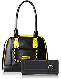 Fantosy Women Black And Yellow Handbag And Wallet FNB-434_017