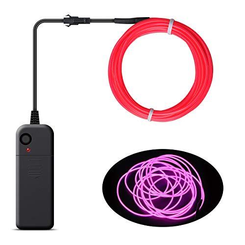 Songway EL Wire, luces de neón de cuerda, luz estroboscópica intermitente, cable de alambre electroluminiscente para la fiesta de Halloween Carnaval navideño Decoración del festival (Pink)