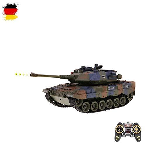 HSP Himoto German Leopard 2 A6 - RC Ferngesteuerter Panzer mit Schussfunktion, Sound, Licht Tank-Modell im Maßstab 1:18 inkl. Akku, Ladegerät, Fernsteuerung und Munition, RTF
