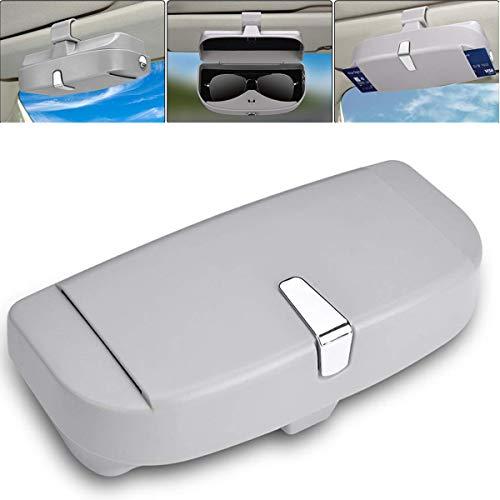 Techwills Auto Sonnenblende Brillenetui, Autoglashalter Sonnenblende Clip auf, Universal Car Sonnenbrillen Aufbewahrungsbox (Grau)