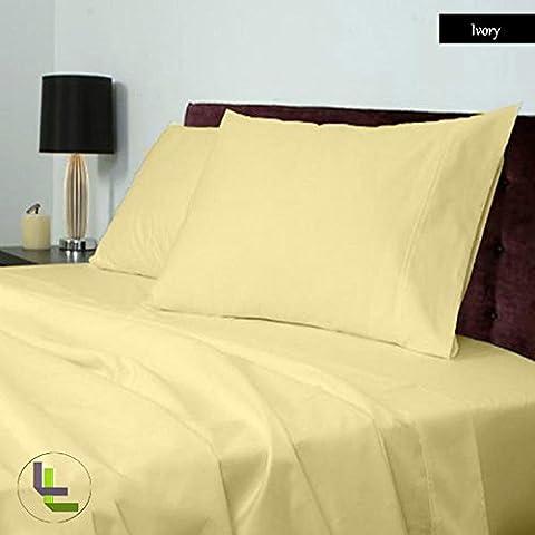 Scala 4PCs Juego de sábanas(Marfil Sólido Sólido , Reino Unido doble 135x 190 cm (4ft 6 in x 6ft 3in) , Pocket Size 16cm) 100% de algodón egipcio Alta Calidad 400 Thread