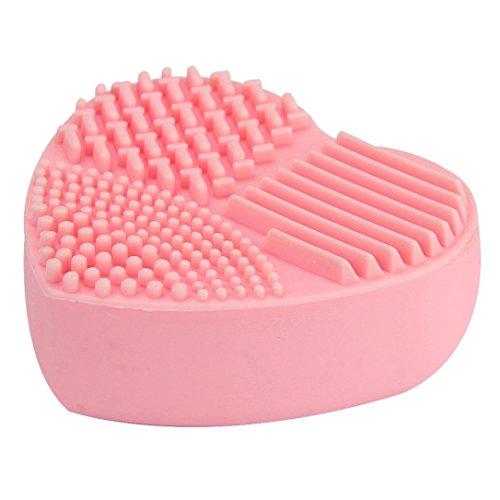LuckyGirls Reinigungsbürste Silikon Herz Mode Ei Reinigung Handschuh Make-up Waschbürste Wäscher Werkzeugreiniger (Schwamm Und Wäscher Halter)