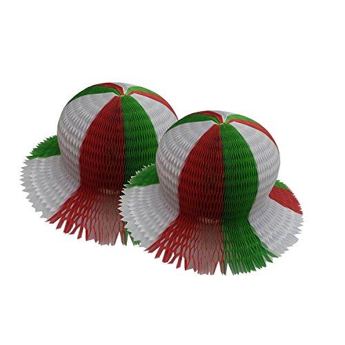 2 Stück Italien Fan Hut Fussball Weltmeisterschaft Einheitsgröße - sind gefaltet passen in den Koffer Fußball-hut