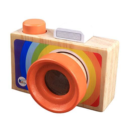 Toyvian Holz Regenbogen Kamera Spielzeug Kaleidoskop Kamera Objektiv Pretend Play Spielzeug mit Seil Pädagogisches Spielzeug für Kinder Kind Kleinkinder - Regenbogen-kamera-objektiv