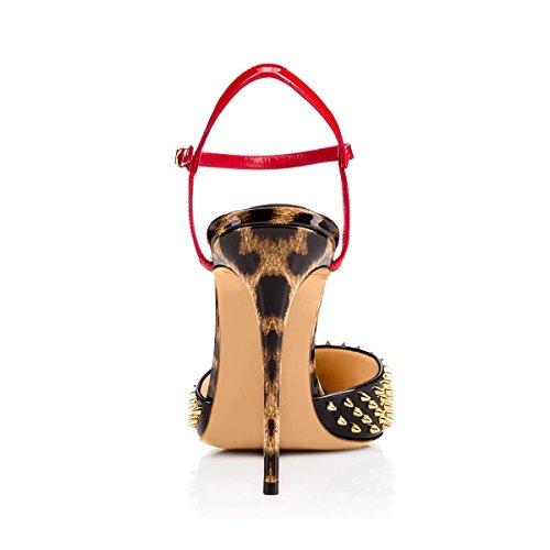 Schuhe Rot Lady Pumps Komfort Stiletto Absatz Hohe Damen Schwarz Zehenkappe Knchelriemen Und Spitze Mehrfarbige xvTHnqa