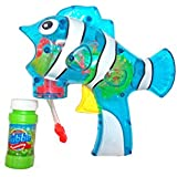 Shanaya Toys Fish Shaped Bubble Gun Toy With LIGHTS & Bubble Bottle Toy For Kids (Blue)