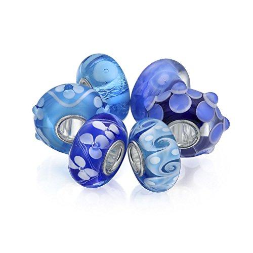 Bling Jewelry Color Topacio Azul Cristal De Murano Paquete Plata Esterlina Abalorio