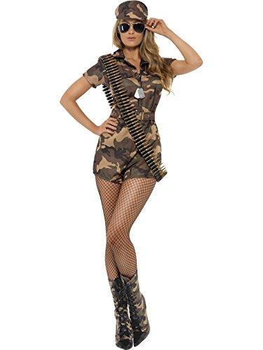 Smiffys, Damen Sexy Army Girl Kostüm, Kurzer Jumpsuit, Gürtel und Hut, Größe: 48-50, 28864 (Zombie Militär Kostüm)
