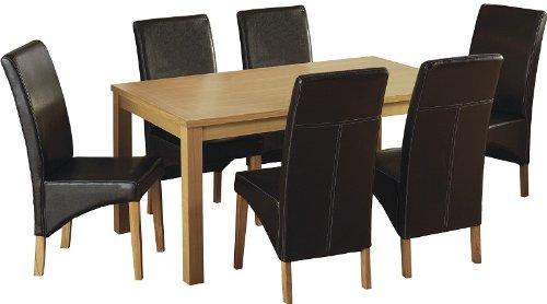 Seconique Belgravia Esszimmer-Set mit 6G1Braun Stühle–Eiche Natur Furnier/braun Kunstleder