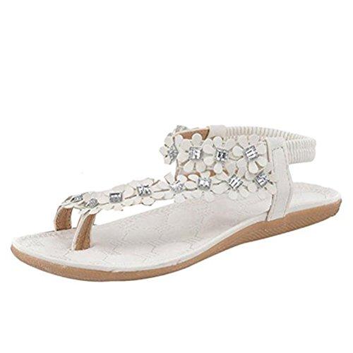 Donalworld Frauen Beach Mädchen Flower Bohemia Perlen Flip Flop Flache Schuhe Sweet Sandalen, Elfenbein - Cremefarben - Größe: 36 (Elfenbein-blumen-mädchen-schuhe)