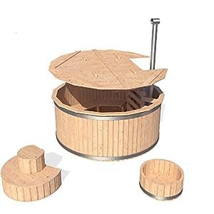 isidor badezuber badefass badetonne badebottich pool outdoor hot tub whirlpool komplettset mit. Black Bedroom Furniture Sets. Home Design Ideas