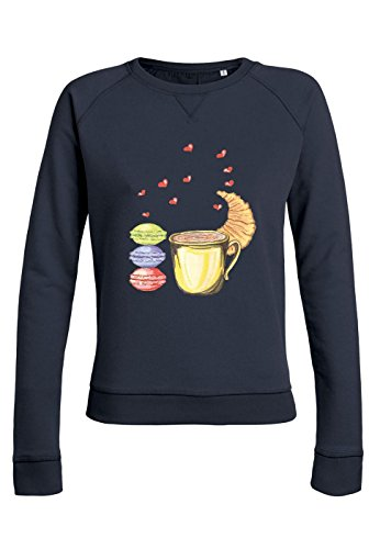 ul25 Sweat pour femmes Trips Love with Croissant Navy