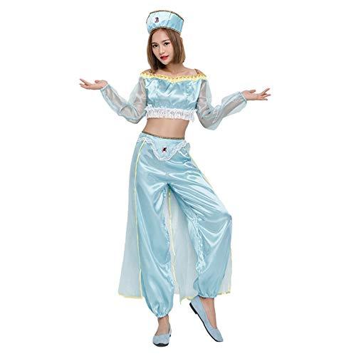 Halloween Kostüm Damen Anime Accessoires Karneval Fasching Arabische Prinzessin Tänzerin Sexy Bauchtanz - Blau Arabischen Prinzessin Kostüm