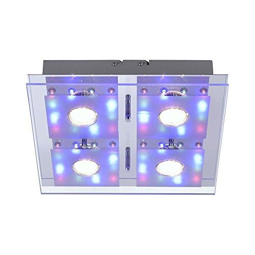 farbwechsel deckenleuchte LED Decken Leuchte RGB eckig 30 x 30 cm 4x 3 W LED Spot + 48 x LED Farbwechsel Fernbedienung getrennt schaltbar Glasplatte Spiegel-Platte chrom bunt 1112 Lumen