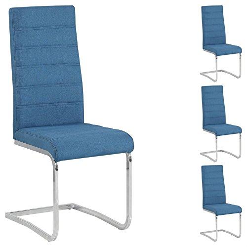 4er Set Esszimmerstuhl Küchenstuhl Schwingstuhl MODESTO, Gestell in chrom, Stoffbezug in blau