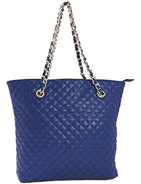 Big handbag shop, grande borsa trapuntata in morbida ecopelle, shopper, borsa a tracolla