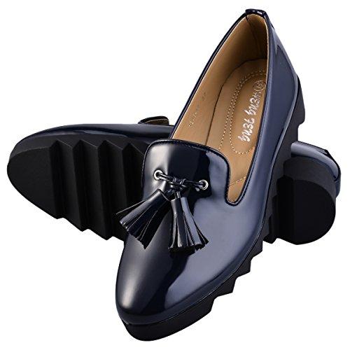 Hengfeng Mode féminine en cuir à talons plats Anti Skid Chaussures 1346-17 Bleu foncé
