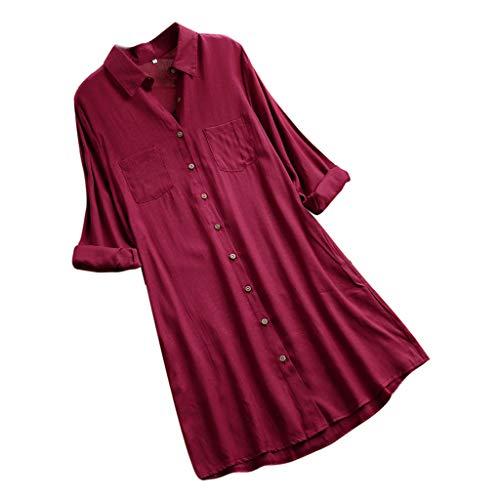 VEMOW Herbst Frühling Sommer Elegante Damen Frauen Stehkragen Langarm Casual Täglichen Party Strand Urlaub Lose Tunika Tops T-Shirt Bluse(Y2-c-Weinrot, EU-44/CN-XL)