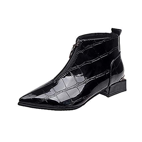 Selou Damen Mode Lederschuhe Zipper Stiefel Runde Kopf Schuhe Dicke spitze Stiefeletten Schick elegant nackte Stiefel Lederschuhe Winter Damenschuhe Stiefeletten niedrigem Absatz Hübsche Schuhe