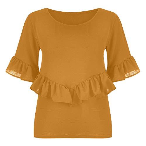 CUTUDE Damen T Shirt, Bluse Kurzarm Sommer Volltonfarbe Rüschenärmel Rundhals Plus Size Top (Gelb, Small)
