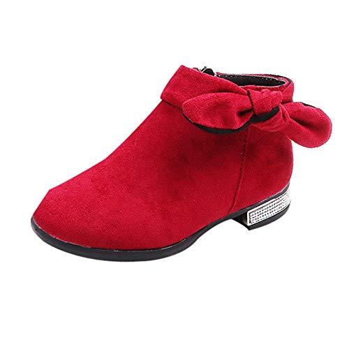 cinnamou Schuhe Mädchen-Feste Winter-warme Flock Stiefel Solid Crystal Bowknot Reißverschluss Freizeitschuhe Unisex-Kinder Sneakers