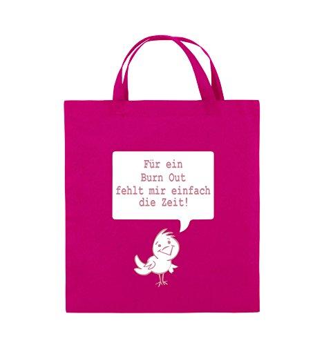Comedy Bags - Für ein Burnout fehlt mir einfach die Zeit! - Jutebeutel - kurze Henkel - 38x42cm - Farbe: Schwarz / Weiss-Neongrün Pink / Rosa-Weiss