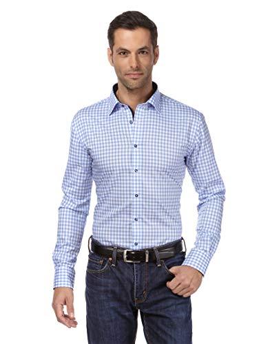 Vincenzo boretti camicia uomo eleganti, taglio aderente/slim-fit, collo classico, manica lunga, a quadri con inserti in contrasto - non stiro/non-iron azzurro 37/38