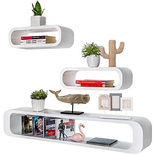 Bakaji set 3 mensole da parete moderne design cubo ovale mensola scaffale 2 ripiani in legno mdf 2 dimensioni (bianco)