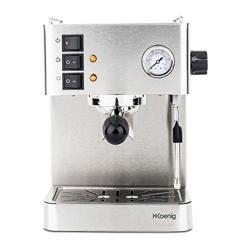 H.Koenig EXP530 Espresso Machine / 1,7 L Wassertank / Wärmeplatte / Milchschaumdüse / 15 bar /...