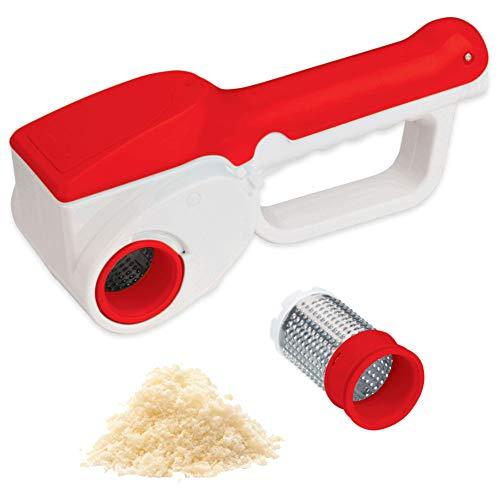 Bakaji grattugia elettrica ricaricabile senza filo, grattugiera ricaricabile lunga autonomia fino a 1kg di formaggio, rullo acciaio inox, colore rosso