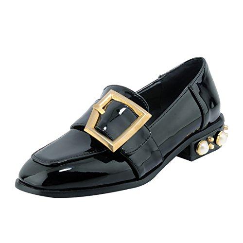 UH Damen Lack Halbschuhe mit Perlen und Schnalle Flache Slipper Square Toe Schuhe