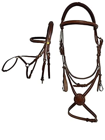 Tattini Bridle Leather German + Bezel Domed Crossed Padded Headcollar
