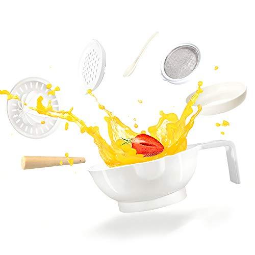 Baby Grinding Bowl Manuelle Anti-Rutsch-Babynahrung Masher Maker Waschbar NahrungsergäNzungsmittel Grinder-Tool-Set FüR Kleinkinder Kleinkinder,White -