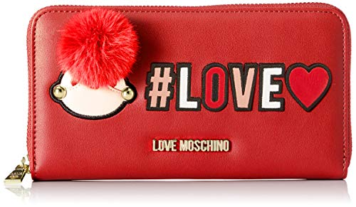 Love Moschino Portafogli Pu - Donna, Rosso, 3x11x20 cm (B x H T)