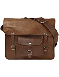 SR Vintage 10 X13x4 Handmade Real Goat Leather Messenger Bag Satchel Laptop MacBook Crossbody Bag
