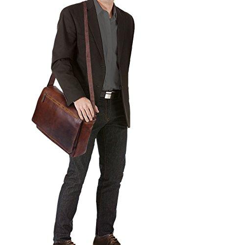 STILORD Jan Borsa per Computer in Pelle Messenger per PC a Tracolla per Università Ufficio vintage in vero Cuoio Uomo Donna, Colore:cognac lucente cognac marrone scuro