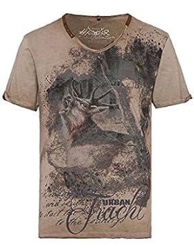 Hangowear Herren Trachten-Shirt Kurzarm Hellbraun 'Urban Tracht' Bryce 003792