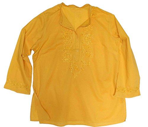 adonia mode Long Tunika Kleid Perlenstickerei , Gr. 46 - 56 Gelb