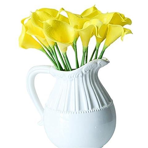 Labellevie Bouquet de Calla Lily Fleurs Artificielles Fleur Nuptiale Décoration Mariage Fête Maison 10 Pcs Jaune