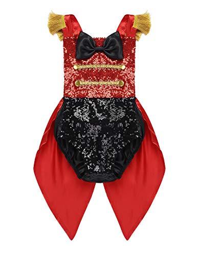 Kleinkind Kostüm Zirkus - inlzdz Baby Mädchen Glitzer Pailletten Strampler Showman Zirkus Kostüm Kleinkind Overalls Body Jumpsuit Weihnachten Outfits Halloween Karnevalskotüm Schwarz&Rot 68-80