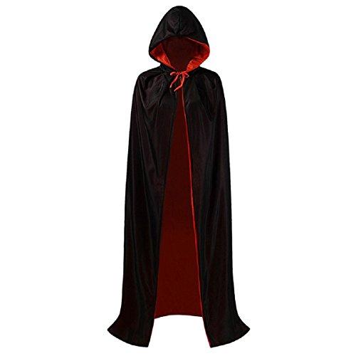 iShine Vampiro Dracula Capa Cabo para Adultos Halloween Navidad Traje de Cosplay 140cm Largo Negro Rojo