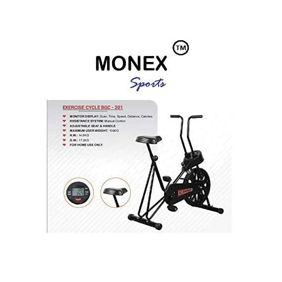 MONEX Air Bike Exercise Cycle| Fix Handle Gym Bike for Home Use| Deluxe Design of Fitness| Lifeline for Cardio Work Out| Weight Loss Cross fit Equipment| Exercise Bike 201