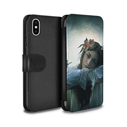 Offiziell Elena Dudina PU-Leder Hülle/Case/Tasche/Cover für Apple iPhone X/10 / Durch Den Wind Muster / Einer mit Natur Kollektion Träumer